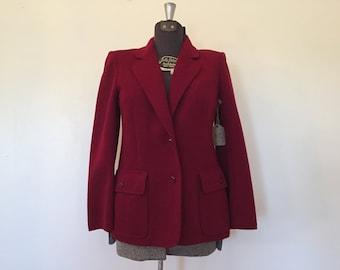 Vintage Dark Red Blazer /Large / Red Jacket