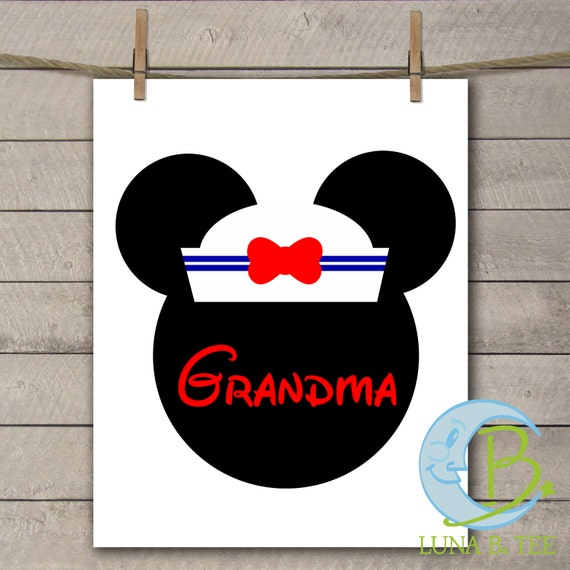 INSTANT DOWNLOAD Disney Family Vacation Cruise Sailor Hat Grandma Shirts Printable DIY Iron On to Tee T-Shirt Transfer - Digital File