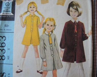 vintage 1960s McCalls sewing pattern 8363 girls shirtwaist dress size 8