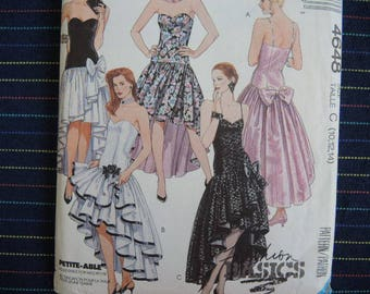 vintage 1990s sewing pattern McCalls 4648 evening or prom dress size 10-12-14
