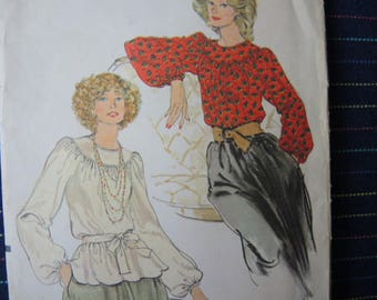 vintage 1980s Vogue sewing pattern 9345 misses blouse size 12