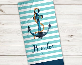 Beach Towel | Anchor Watercolor Personalized | Extra Large 30x60 | Ultra-Soft Microfiber Velour | Summer | Island Nautical | Stripes | Gift