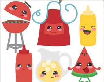 Kawaii BBQ Clipart -Personal and Limited Commercial Use- Cute Picnic Clip Art