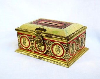 Vintage German tin box…Linette tin piggy bank...Western Germany.