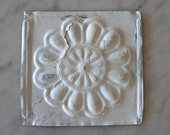 One Upcycled Antique Architectural Ceiling Tile - White Round Floral