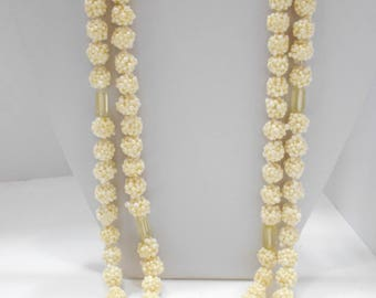 Vintage White Plastic Beaded Necklace, Japan (5092) Double Strands, 11mm