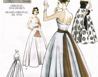 FF 1950s Vogue Reproduction Wedding Gown Evening Dress Sewing pattern [Vogue 2239] Retro Midcentury Style, Size 10, Bust 32.5, UNCUT