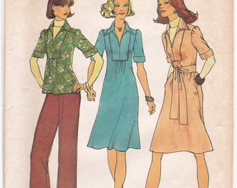 FF Simplicity 7049, 1970s Boho One Piece Dress, Tunic Top Flared Pants Vintage Sewing Pattern, Size 10, 12 & 16, Bust 32 34 38 Cut and Uncut