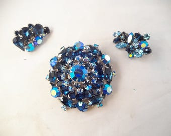 Austrian Blues Rhinestone Dome Brooch with Matching Clip Earrings, Silver Tone Metal