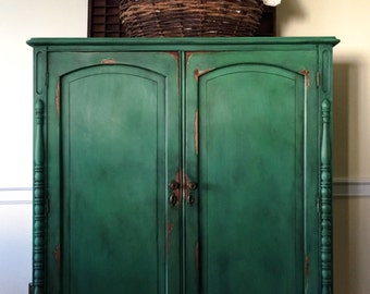 SOLD Vintage Hand Painted Armoire Annie Sloan Chalk Paint Green Farmhouse cottage Shabby Chic Pick up Only