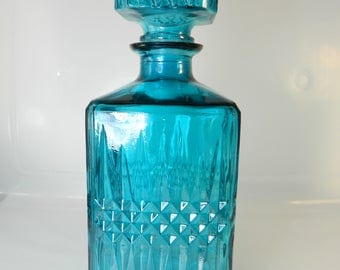 Vintage Teal Glass Decanter