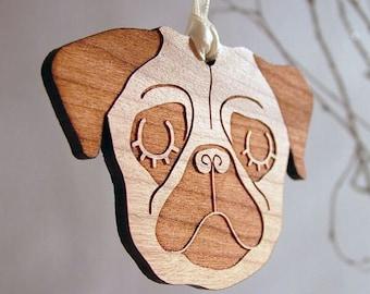 Pug Christmas Ornament - Wooden Pug Christmas Tree Decoration - Pug Christmas Tree Decoration - Pug Christmas Decoration - Pug Xmas