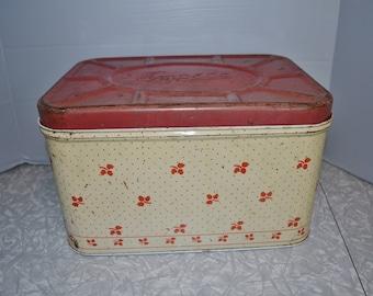 Empeco Red Floral Bread Box ~ Vintage Metal Bread Box ~ Kitchen Storage ~ Epsteam