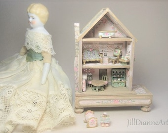 LAST ONE this price Doll's Dollhouse Cottage Playroom Toy 144 antique style 10 pc furniture - rabbit rose play table  Pink mint  Jill Dianne