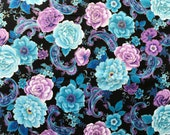FABRIC-Black Floral Fabric by the Yard-Quilt Fabric-Apparel Fabric-Home Decor Fabric-Fat Quarter-Craft Fabric-Fat Quarters
