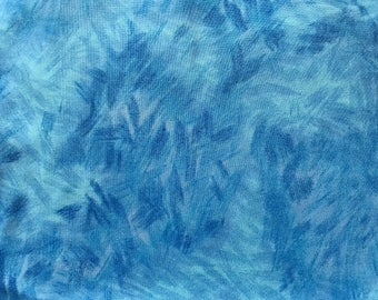 Blue Watercolor Brushstrokes fabric- Blue Cotton Fabric -Fabric by the Yard - Quilt Fabric - Apparel Fabric - Home Decor Fabric