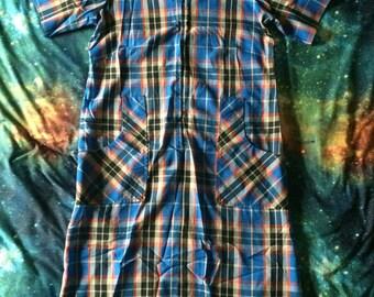 Vintage Blue Plaid Print Sears Zip & Dash Long Summer Dress