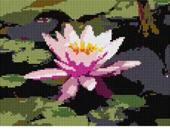 Needlepoint Kit or Canvas: Pink Lilypad