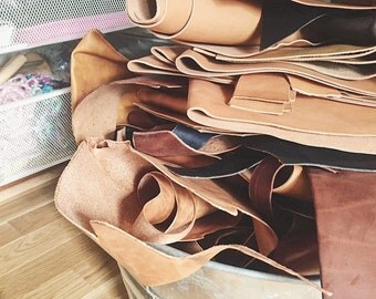 vegetable tanned leather scraps - high quality - american tannery - heritage