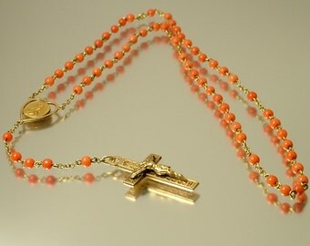Antique vintage Edwardian Childs gold fix and coral, Catholic / Christian/ cross, rosary necklace - jewelry, Santa Teresia a Jesu infante