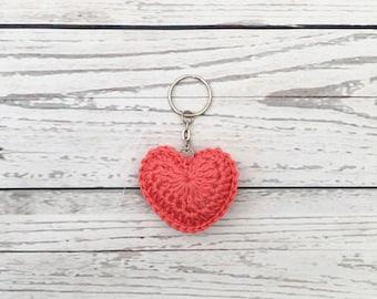 coral heart keyring, valentine's gift, crochet heart keychain, crochet keyring, gift for her