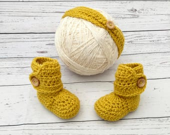 baby headband and booties set | mustard yellow headband | crochet girl headband | headband shoes matching set | crochet baby headwrap