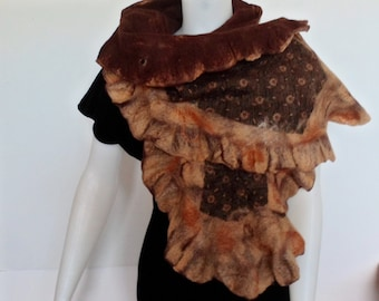 Nuno Felted Ruffle Scarf With Men's Tie in Camel and Chocolate Brown
