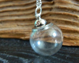 Empty Glass Orb Pendant Necklace.Fill Your Own Pendant.Screw Top.DIY.Keepsake.Make A Wish. Large Opening Hole