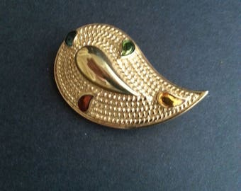 Teardrop Palette Brooch Pin Gold Coloured with drops of Colour Vintage