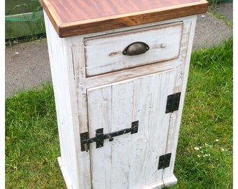 Rustic Reclaimed Solid Wood Cupboard Drawer Side Table Country