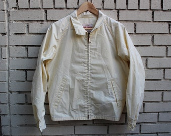 Vintage PETERS All Weather Jacket Zip Up White Durable Water Reppelant Reeves Fabric Outdoor Long sleeve Collared
