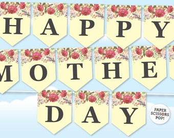Happy Mothers Day Garland, Floral Garland, Mom's Day Decor Garden Garland, Forest Mother' Day Photo Prop Banner, Leaves Garland Gift for Mom