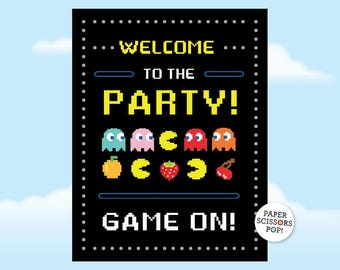 Pac-man Party Welcome Sign, Game On Party Poster Retro Arcade Games Party, Retro Party, 10th, 20th, 16th, 40th Birthday Pacman Party Wecome