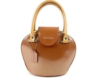 Vintage 80s Angelina 2 tone Gold Rockabilly Bowling Bag Handbag Purse