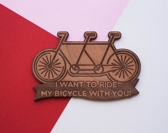 Ride My Bicycle With You - Wood Love Card