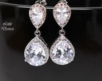 Bridal Jewelry Wedding Earrings Crystal Earrings Lux Cubic Zirconia Bridesmaid Jewelry Prom Jewelry Rhodium Plated Teardrop Jewelry SPARKLE