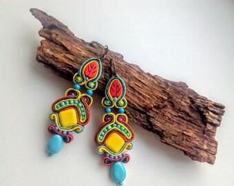 earrings-soutache-Lemon Square - Dangle soutache earrings boho