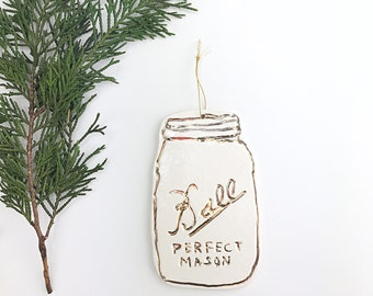 Mason Jar Ornament White And 22k Gold Minimal Holiday Ornament Christmas Gift Keepsake Decor Porcelain Pottery MADE TO ORDER