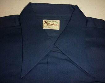 NOS / 1940s Shirt / ML / L / Rayon / Gabardine / Loop Collar / Rockabilly / New Old Stock / Deadstock / Vintage 1940s Mens Clothing / 40s