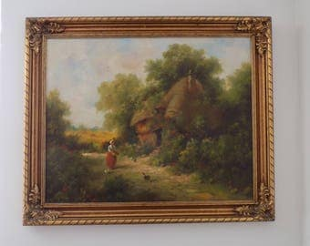 "Century Oil on Canvas by Henry T Harvey - ""Thatched Cottage"" - 35""x30"" Large Ornate Gold Frame Americana Fine Artwork - Signed Original"