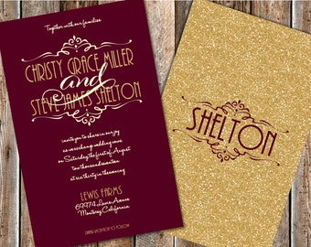Maroon and Gold Wedding Invitations, Gold Glitter Wedding Invitations, Burgundy and Gold Wedding Invitations, Glitter Wedding Invitations