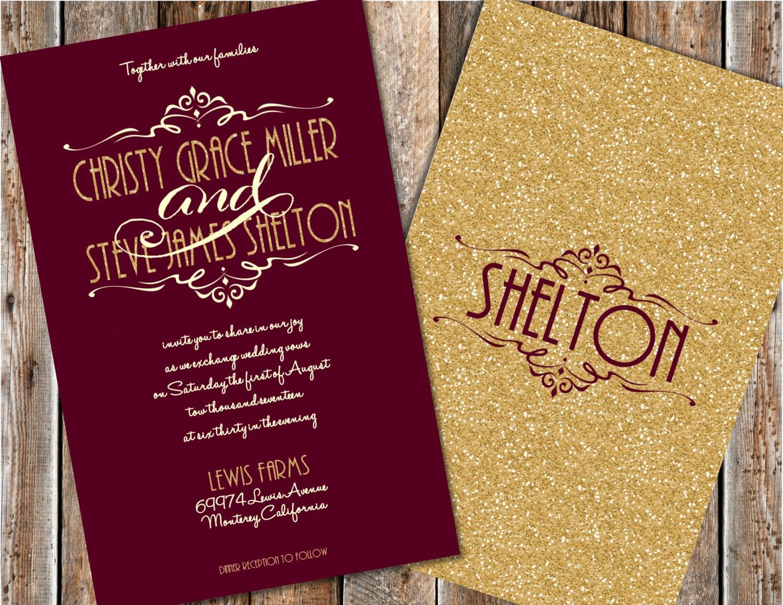 Burgundy And Gold Wedding Invitations: Maroon And Gold Wedding Invitations Gold Glitter Wedding