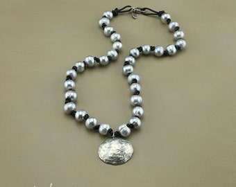 Sterling Jingle Shell Pendant with Grey Pearls on Leather
