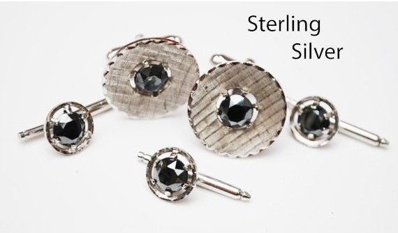 Sterling Silver Hematite Cuff links  three Tuxedo Button Slide wedding groom