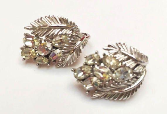Trifari Rhinestone Clip on Earrings - Clear Crystal - Silver leaf  - Mid Century Crown Trifari Jewelry