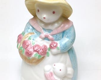 Vintage Mother Rabbit with Bunny Coin Bank, Springtime Bank, Spring Decor, Easter Coin Bank, Easter Gift, Easter Bunny