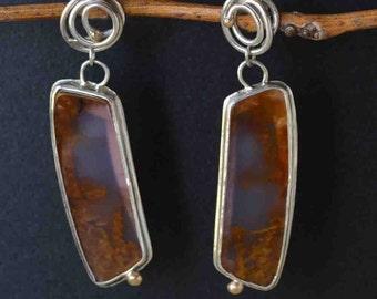 Agua Nueva Earrings in Silver, Agua Nueva Long Earrings, Statement Gemstone Earrings, OOAK Metalwork Earrings