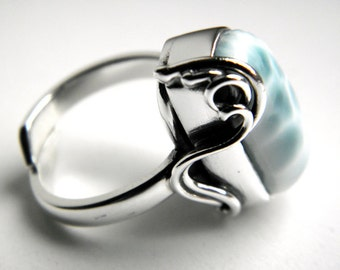 Larimar sterling silver ring - adjustable