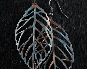 Hand Painted Open Leaf Earrings
