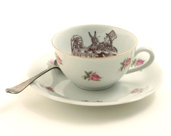 Alice in Wonderland Tea Party Cup Vintage Altered Tea Coffee Saucer Porcelain Lewis Carroll Roses Drink Me Geekery Shabby Chic Romantic